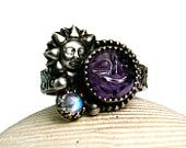 Sterling Amethyst Ring, Face Stone, Bohemian Jewelry, Novelty Ring, Hand Made Custom Jewelry