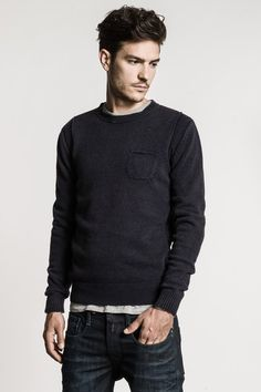 Enzyme wash wool/cotton sweater with round neck, breast pocket, inside-out motif along sides & around armholes. - Replay