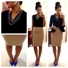 School teacher chic--black & khaki & cobalt shoes (with and without a blazer) or a counselor
