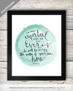 The Most Important Work � Free Printable