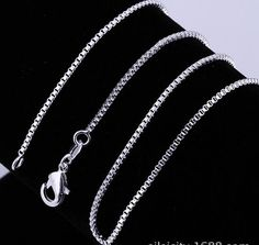 Women Fashion 925 Sterling Silver Plated Elegant Box Chain Necklace - Silver Plated Chain - Ideas of Silver Plated Chain Silver Chain Necklace, Sterling Silver Necklaces, Silver Jewelry, 925 Silver, Chain Necklaces, Silver Ring, Moon Necklace, Silver Pendants, Necklace Chain