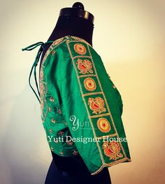 The box design simplified' by YUTI - a green silk blouse with peacock and chakra - 2 must present elements of a traditional wedding! For Price and Other details reach us at or Whatsapp: 7010905260 Address: Valmiki street, Thiruvanmyur. Designer Sarees Wedding, Saree Wedding, Cotton Saree, Silk Sarees, Traditional Blouse Designs, Floor Length Anarkali, Bridal Blouse Designs, Saree Blouse, Blouse Outfit