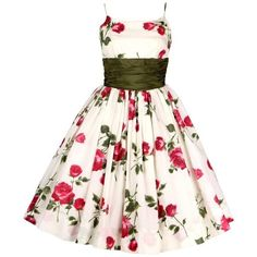 Preowned 1950s Rose Garden White Floral Classic Green Taffeta Bow Tea... (4.605 BRL) ❤ liked on Polyvore featuring dresses, white, vintage floral dress, green floral dress, white dress, rose print dress and white spaghetti strap dress