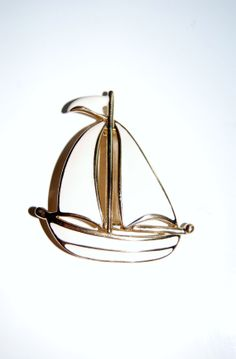 Vintage NAUTICAL Sail Boat BROOCH - Solid Enamel White Ship - Rare, Signed Napier, 80s