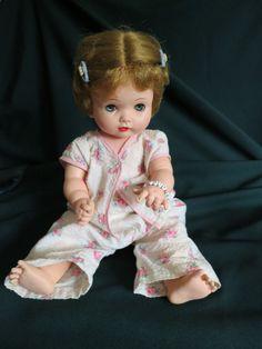 """Vintage Effanbee Doll My Fair Baby Rooted Hair Orig. Bracelet  Vinyl 18"""" 1960's #Dolls"""
