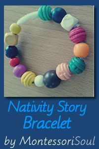 Free Nativity Story Bracelet Printable with Sentence for Children to Read from MontessoriSoul