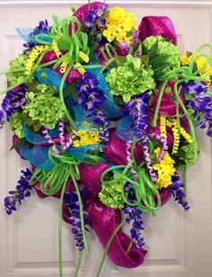 Spring/ Summer Mesh Wreath on Etsy, $115.00