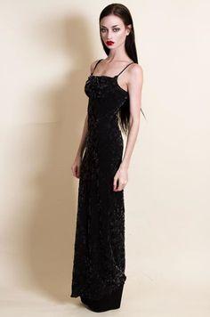 felice fawn in long black velvet dress