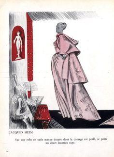 Jacques Heim 1948 André Delfau, Evening Gown Cape