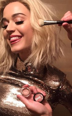 "Katy Perry from Stars Get Ready for the 2017 Grammys  ""Grammy LEWK w/ my NEW @COVERGIRL Katy Kat Pearl Collection! @Walgreens #flashsale happening NOW: #KATYxCOVERGIRL"""