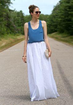 Blue silk tank and a white cotton maxi skirt