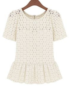Short Sleeve Floral Lace Ruffle Blouse
