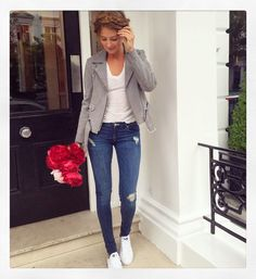 Millie Mackintosh in a Sandro Paris jacket...the question is, who delivered the flowers? | DRESSR