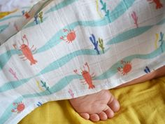 Lobster muslin square for baby Stroller Cover, Kids Slippers, Muslin Blankets, Summer Prints, Brand Collection, Lobsters, Crabs, Soft Dolls, Baby Room Decor