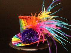 Funky Rainbow Mini Top Hat for Dress Up Birthday by daisyleedesign