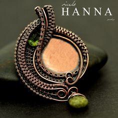 Nicole Hanna Jewelry   Wire Wrapped Peridot, Green Garnet Drop, Copper Weave   Online Store Powered by Storenvy