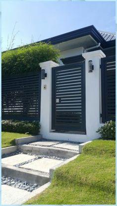 House Fence Design, Fence Gate Design, Front Gate Design, Gate Designs Modern, Modern Fence Design, Modern House Design, Modern Entrance, House Entrance, Modern Gates