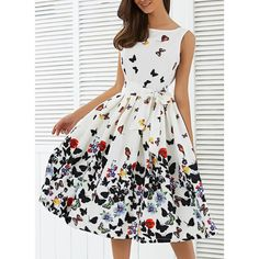 FANALA Vintage Print Dress Summer Sleeveless O-neck Belted Pleated Retro Audrey Hepburn Vestidos Robe Femme Party Swing Dresses Pretty Outfits, Pretty Dresses, Beautiful Outfits, Casual Dresses, Fashion Dresses, Summer Dresses, Dresses Dresses, Winter Dresses, Fashion Clothes