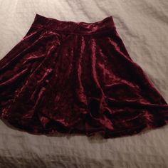 Velvet Skater Skirt red velvet skater skirt. super cute but was too big on me:/ perfect condition and never worn! Hollister Skirts Circle & Skater