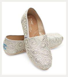 351410fdd0c Tom s Comfy Wedding Shoes for Brides ~ Crochet Glitter Classic Bride  Sneakers