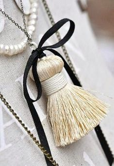 Black and white tassel Diy Tassel, Tassels, Tassel Curtains, Handmade Furniture, Black Cream, Black White, Tassel Earrings, Jewelery, Diy Jewellery