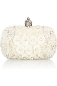 Alexander McQueen The Skull embellished satin and tulle box clutch