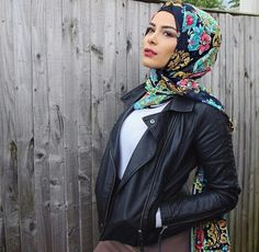 Habiba Da Silva half Lebanese , half Brazilian.        Pretty scarf contrasted with tough girl leather jacket look - love!