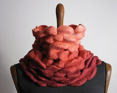 Nuno Felted Snood Scarf - wrinkled, Coral Salmon Orange Rust Snood, Silk Wool Scarf, OOAK winter scarf, Design Scarf, Art