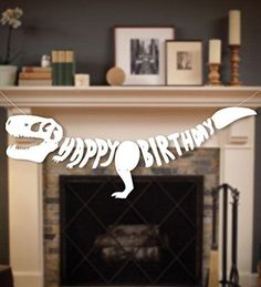 Dinosaur Dino Happy Birthday Banner Fossil Jurrasic T-REX Garland -- Party Decoration Supplies - https://www.partysuppliesanddecorations.com/dinosaur-dino-happy-birthday-banner-fossil-jurrasic-t-rex-garland-party-decoration-supplies.html