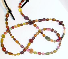 Golden Brown Red Pressed Glass Beaded Eyeglass Chain by nonie615, $14.00