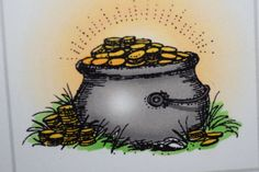 Pot of Gold. Sells for 6.49. Made by by Art Impressions. Rubber Stamps.You can purchase these from my ebay store: Pat's Rubber Stamps & Scrapbooks, Click on the picture here to see the listing , or call me 423-357-4334 with order, . We take PayPal. You get FREE SHIPPING ON PHONE ORDERS of $30.00 or more. Use my search engine to find all items you are interested in. If this shows sold I have more