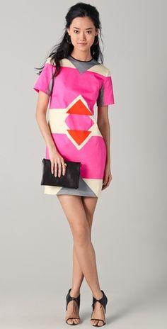 10 Crosby by Derek Lam  Short Sleeve Graphic Print Dress