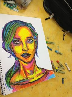 8d8083b3bdc95 self portrait by Oli-Pop-expressive portraits in oil pastel.some other good  portrait ideas here too (fauvism)