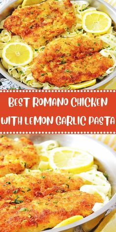 Ingredients ROMANO CHICKEN: lb chicken breasts, butterflied or thinly cut into cutlets salt and pepper cup finely grated Parmesan ch. Lemon Garlic Pasta, Lemon Chicken, Grilled Chicken Recipes, Easy Chicken Recipes, Easy Recipes, Romano Chicken, Granny's Recipe, Healthy Low Carb Recipes, Mediterranean Recipes