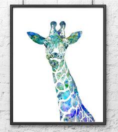 Blue Giraffe Watercolor Painting Animal Art by Thenobleowl on Etsy