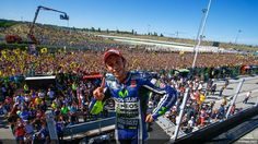 Fans were in ecstasy at the Misano World Circuit near San Marino, Italy, where local MotoGP superstar Valentino Rossi was victorious on Sunday. It was Movistar Yamaha's first win of … Motogp Valentino Rossi, Valentino Rossi 46, Grand Prix, Moto Journal, Vale Rossi, Rimini Italy, Motorcycle News, The Championship, Rugby