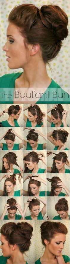 Super Easy Updo Hairstyles Tutorials: Bouffant Bun to use on a bad hair day Updo Hairstyles Tutorials, Easy Bun Hairstyles, Pretty Hairstyles, Wedding Hairstyles, Hair Tutorials, Hairstyle Ideas, Summer Hairstyles, Latest Hairstyles, Medium Hairstyles