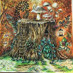 Aquarela Pintura Coresquentes Florestaencantada Enchantedforest Johannabasford Secretgardenbook Jardimsecreto Coloringbook Coloring Coloriage