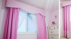 Pink and white gingham DIY valence with matching curtains for girl's nursery Girls Bedroom Curtains, Girl Nursery, Tweety, Gingham, Kids Room, Room Decor, Sewing, Pink, House