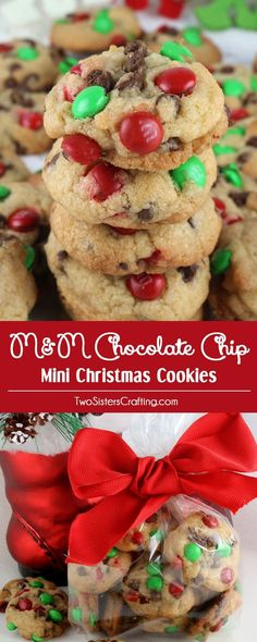 Christmas M&M Mini Cookies - These bite-sized Christmas Cookies are a fun take on a classic Chocolate Chip Cookie and look so Christmas-y with the Red & Green M&M's. You'll family will beg for more of these small but delicious Christmas treats. Christmas Snacks, Xmas Food, Christmas Cooking, Christmas Goodies, Funny Christmas, Christmas Treat Gifts, Christmas Cookies For Kids, Christmas Cookie Recipes, Christmas Christmas