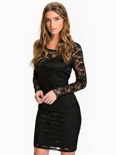 Vmjoy Jupiter L/S Abk Dress Dnm A - Vero Moda - Black - Party Dresses - Clothing - Women - Nelly.com