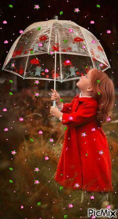 Menina e o guarda chuva de flores Rose Flower Wallpaper, Flowers Gif, Beautiful Rose Flowers, Butterfly Wallpaper, Roses Gif, Good Night Gif, Good Morning Gif, Good Night Image, Good Morning Images