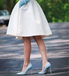 c94f409625c Lovely Blue Heels combine very well with white skirt and blue blouse.
