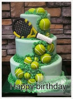 Check out this cool birthday cake we made for a tennis enthusiast. The cake is iced with a light green fondant and decorated with chocolate tennis balls, grass and a tennis racket. All three tiers are made with vanilla cake and Oreo filling. Tennis Decorations, Decors Pate A Sucre, Tennis Cake, Tennis Cupcakes, Bolo Fack, Oreo Filling, Sports Themed Cakes, Sport Cakes, Cool Birthday Cakes