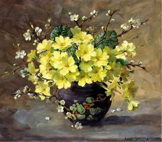 Lithographic Floral Print by Anne Cotterill. Primroses and Blackthorn. Art Floral, Floral Prints, Painting & Drawing, Watercolor Paintings, Scottish Flowers, Primroses, Still Life Art, Beautiful Paintings, Watercolor Flowers