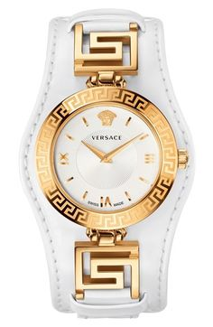 Versace 'V-Signature' Convertible Leather Strap Watch, 35mm (Regular Retail Price: $1295.00) available at #Nordstrom