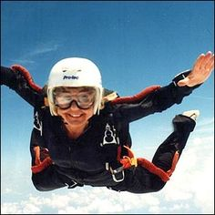 Skydiving. (This is a Google image.) It is SO quiet when you're up there. It's so much fun. I still dream about it, 20 years later. So glad I have this memory.