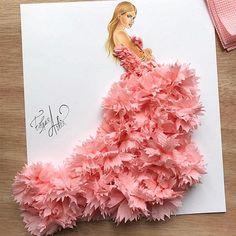 Tissue art dress fashion sketch by Edgar Artis. Arte Fashion, Paper Fashion, 3d Fashion, Flower Fashion, Dress Fashion, Illustration Mode, Fashion Illustration Sketches, Fashion Sketches, Illustrations