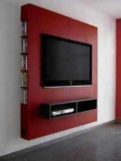 Mueble Panel Lcd / Tv / Led - Modular - Mesa De Tv Would definitely do a different color, but love this Powerful Cool Ideas: Floating Shelves Living Room Around Tv floating shelf display photo ledge.Floating Shelf Tv Stand Ideas floating shelves un Modern Shelving, House Design, Small Spaces, Home, Tv Wall Design, Rustic Living Room, Mattress Design, Floating Cabinets, Living Room Tv