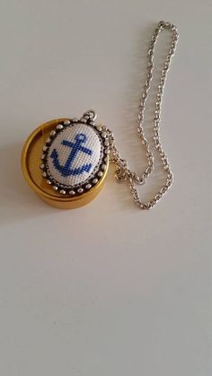 Crossstitch Necklace, Anchor Necklace, Pendant , Cross stitch pendant, Cross stitch anchor, Valentine's Day gift, gift for her